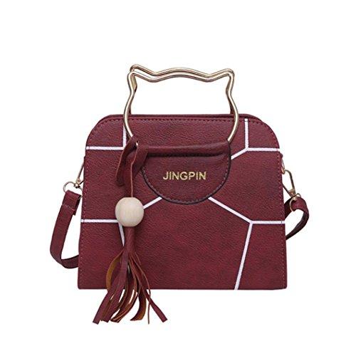 Women Messenger Bag Vintage Bag Tote Shell Bolsas Lady Pouch(red) - 6