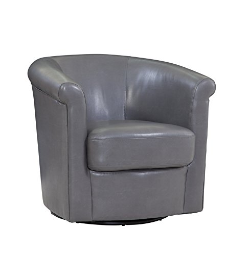 - Grafton 1012-05-L03 Madison Faux Leather Swivel Barrel Chair, One Size, Grey