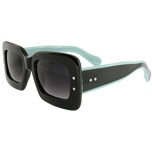 2 Tone Big Square Sunglasses, Retro, Nerd, Vintage Look, - Sunglasses Nerd
