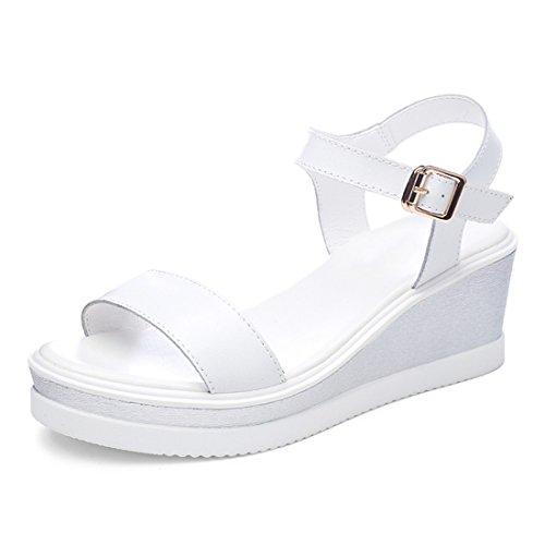 de Verano Inferiores Talón de Gruesos 37 Plano Zapatos Sandalias Estudiante Talones Fondo Zapatos Blanco de q5dqPp