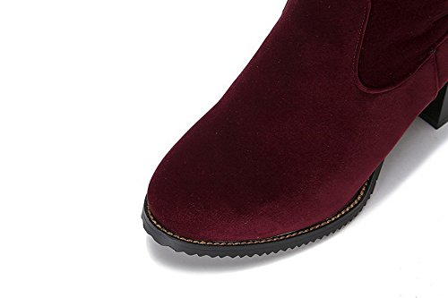 AllhqFashion Womens Kitten-Heels Solid Round Closed Toe Frosted Zipper Boots Claret CIsMouU