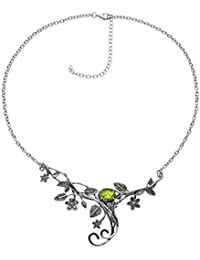 Paz Creations ♥925 Sterling Silver Peridot Floral Swirl Necklace, Made in Israel
