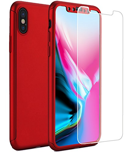ONTHIS iPhone X Case, 360° Full-Body Protective Dual Layer Ultra Slim Shockproof PC Case Cover with 2 Packs of Tempered...  iphone x cases 360 41hw0a3bxAL