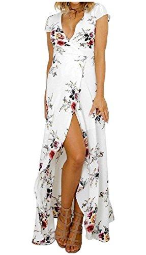Bianco Coolred Floreale Stampa Vestito Estate V Collo donne Beah Elegante Maxi Media PqOSpwHf