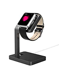 Happy Hours - Premium Aluminum Alloy Charging Stand Holder Dock Cradle for Apple iWatch Standard / Edition / Sport 38mm and 42mm(Iron Gray)