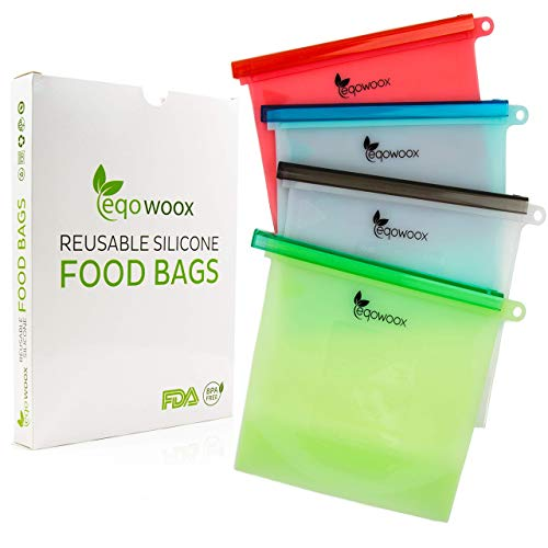 - Eqowoox Reusable Silicone Food Bag - Eco Friendly, BPA Free, Washable and Leak Proof, Microwavable, Bags for Sandwich, Lunch, Fruit, Meat, Freezer - Pack of 4