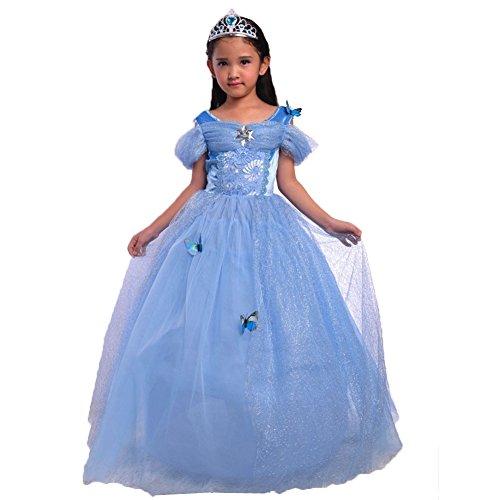 Zerlar Baby Girls Cinderella Princess Dress Butterfly Party Costumes (Height: 43.3''-49.2'') (Baby Cinderella Costume)
