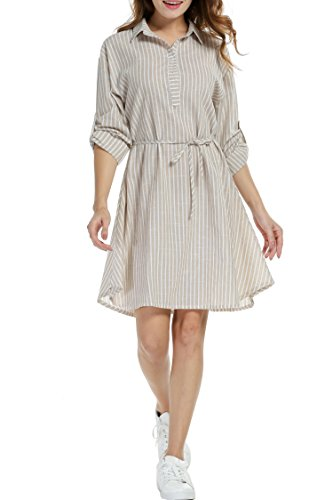 - Beyove Women's Ethnic Floral Print 3/4 Sleeve V Neck Drawstring Tie Waist Midi Dress