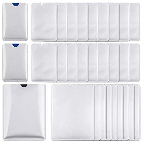 RFID Blocking Sleeves 30 PCS, Identity Theft Protection - Include Credit Card Holders 20 PCS & Passport Protectors 10 PCS (Ten Best Credit Cards)