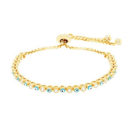 [Silver Rose Gold or Gold Sterling Silver Cubic Zirconia Enamel Evil Eye Slider Tennis Bracelet] (Evil Eye Skull Costumes)