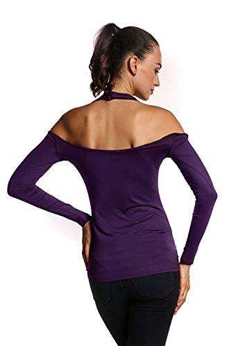 Tapas de Bodycon blusa de manga larga de las mujeres hombro frío Purple