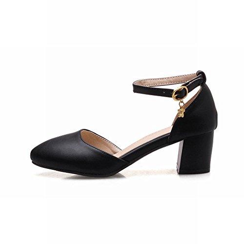 Mee Shoes Women's Lovely Mid Heel Ankle Strap Buckle Block Heel Court Shoes Black zAWBo