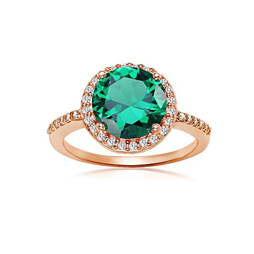Ice Gems Rose Gold Flashed Silver Simulated Emerald and Cubic Zirconia Round Halo Ring, Size 9 ()