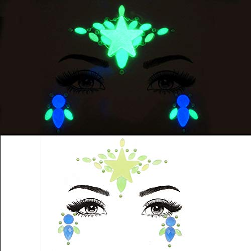 mermaid face gems halloween jewels crystals bindi rainbow tears rhinestone tattoo face gems (tp331-star)
