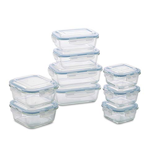 1790 Glass Food Storage Container Set (18 Piece Aqua) (Covered Glass Storage Containers)