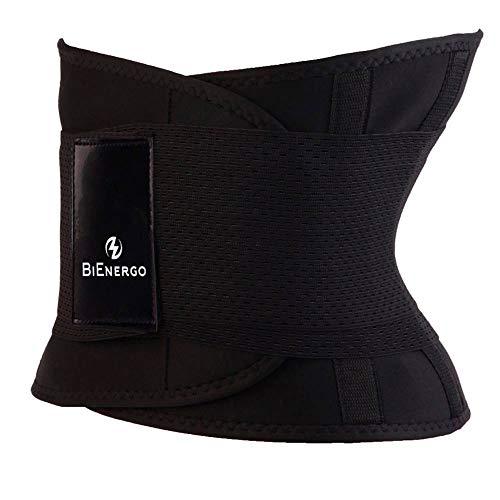 BiEnergo Waist Trainer for Women and Men Weight Loss Waist Cincher Trimmer Slimming Belt Sport Girdle Belt (Black, X- Large)