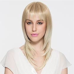 Namecute Ombre Blonde Wig Bangs Layered Full Cap Heat Resistant Synthetic Fiber mix Human Hair Daily Used Cosplay Wigs + Free Wig Cap