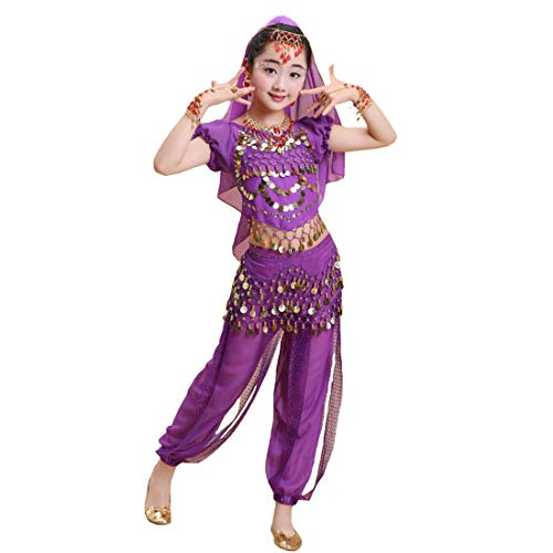 Maylong Girls Short Sleeve Top Harem Pants Belly Dance Outfit Halloween Costume DW64 (Medium, Purple) -