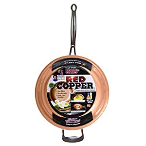 """Red Copper Pan by BulbHead Ceramic Copper Infused Non-Stick Fry Pan Skillet Scratch Resistant Without PFOA and PTFE Heat Resistant From Stove To Oven Up To 500 Degrees (1, 12"""")"""