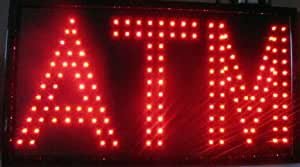 """ATM"" in Red - Large 24"" x 13"" LED Business Light Sign"