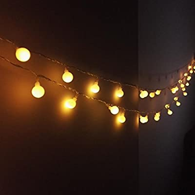 16 Feet 50leds Globe String Lights Battery Powered Outdoor Indoor Bedroom Wedding LED Ambient Decorations Lighting for Garden, Party, Patio, Living Room (Warm White)