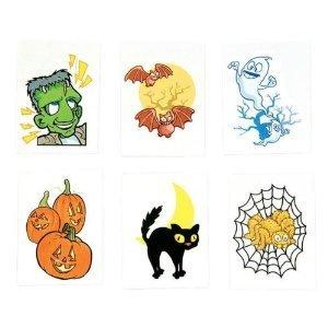 ~ 144 ~ Halloween Temporary Tattoos ~ New ~ Frankenstein, Ghost, Spider, Black Cat, Pumpkins, Jack-o-lantern, Bats