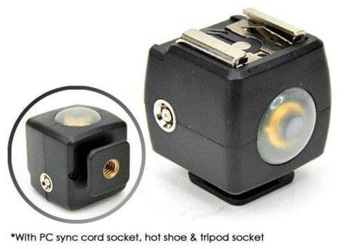 Optical Flash Slave Trigger Hot Shoe Sync Adapter With PC Socket & Sensor For Canon JSYK-3A JJC