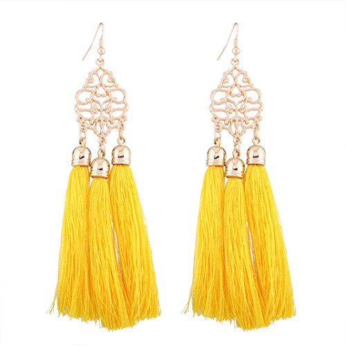 DDLBiz Women Fashion Bohemian Earrings Long Tassel Fringe Dangle Earrings Jewelry Yellow
