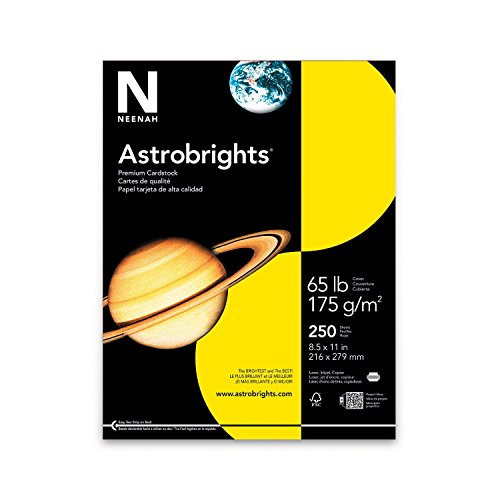 """Astrobrights Colored Cardstock, 8.5"""" x 11"""", 65 lb/176 gsm, Solar Yellow, 250 Sheets ((21738))"""