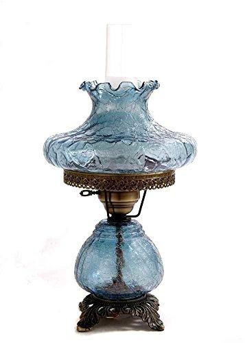 19 in. Crackle Hurricane Table Lamp w 10 in. Tamoshanta Shade
