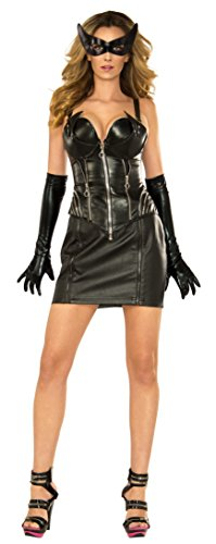 Catwoman Different Costumes (Secret Wishes DC Comics Catwoman Deluxe Costume, Black, Medium)