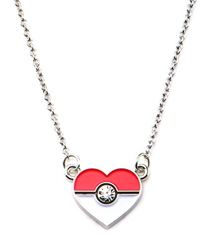 Pokemon Woman's Poke Ball Heart Shape Pendant with Chain Necklace Stainless Steel