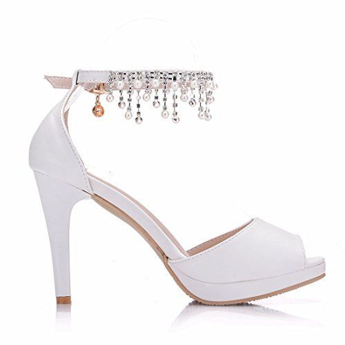 9cm Minitoo Femme Sandales 36 5 pour MinitooEU Blanc MZ8272 White Heel Uqgq0n1x