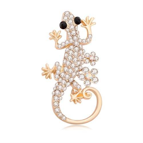 GUANDU Delicate Crystal Gold Gecko Lizard Brooch Pins for Unisex