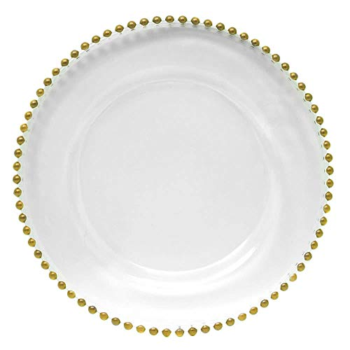 13' Gold Beaded Glass Charger Plate by P.O.C. - Glass Charger Beaded