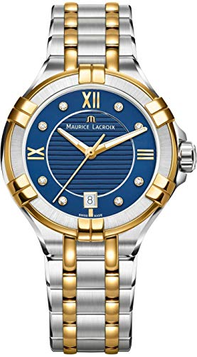Maurice Lacroix Women's Aikon 35mm Mother of Pearl Watch | Blue/Silver/Gold