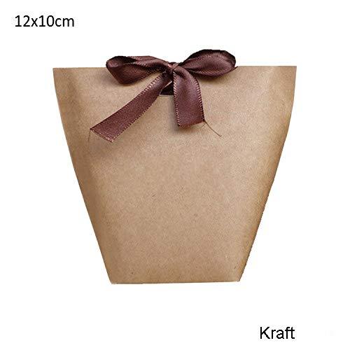 20pcs Black White Kraft Paper Bag Bronzing Thank You Gift Box,12x10cm merci2