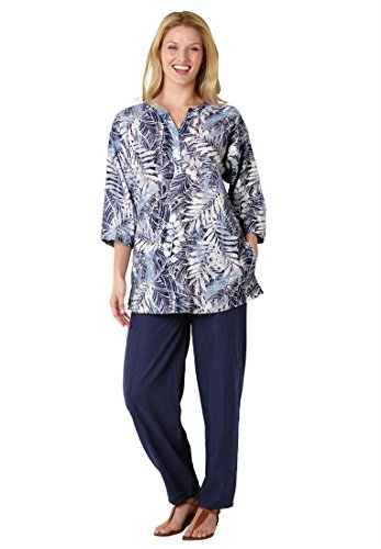 Plus-Size-Linen-Blend-Pant-Set