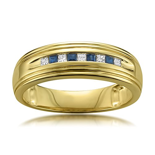 14k Yellow Gold Princess-cut Diamond & Blue Sapphire Men's Wedding Band Ring (1/4 cttw, H-I, I1-I2), Size 8.5 (Sapphire Ring Men Yellow)