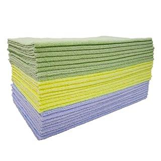 Polyte Microfiber Cleaning Cloth Ultrasonic Cut Edgeless, 14 x 14 in (24 Pack, Premium, Light Blue,Green,Yellow)
