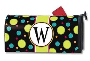 "Theobaldjordan Polka Dot Monogram ""W"" Mailbox Cover Magnetic Mail Box Wrap Yard Garden Decor 17.25 X 20.75 Inches"