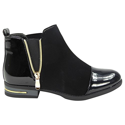 Shoes Black On Flat Gusset 8 Ankle Size Heel New Pull Chelsea Boots Ladies Womens Low 3 WPWZqIT
