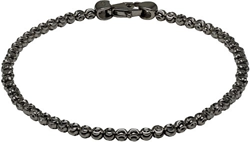 Officina Bernardi - Moon Collection - Bracelet (4 Color Choice) - Italian 925 Sterling Silver (black-rhodium-plated-silver, 8 Inches) by Officina Bernardi