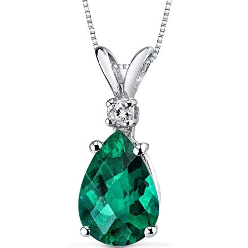14 Karat White Gold Pear Shape 1.75 Carats Created Emerald Diamond Pendant by Peora