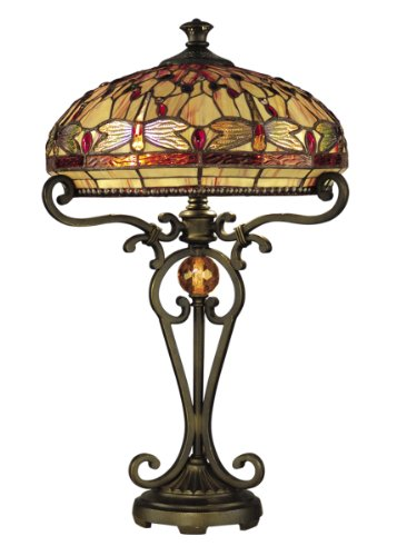 Dale Tiffany Antique Table Lamp - Dale Tiffany TT10095 Dragonfly Table Lamp, Antique Golden Sand and Art Glass Shade