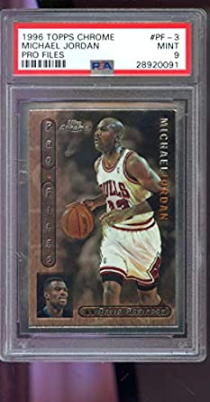 20aab8247772d8 Image Unavailable. Image not available for. Color  1996-97 Topps Chrome Pro  Files ProFiles Michael Jordan MINT NBA PSA 9 Graded Basketball