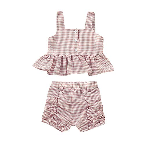 (TToddler Baby Girls Strap Plaid Clothes Sleeveless Ruffle Tank Top Button Shirt +Pleated Shorts Sunsuit Outfits Set (Plaid Pink, 12-18 Months))