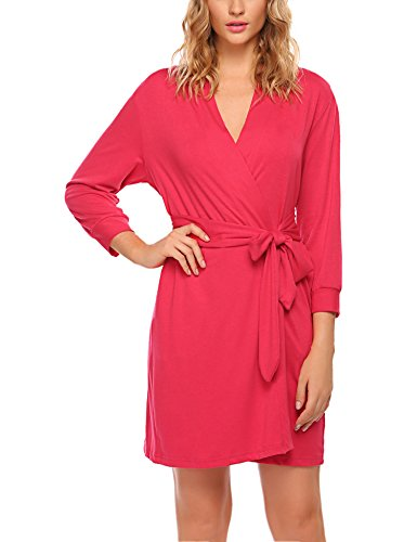 HOTOUCH Women's Cotton Robe for bride and Bridesmaid Coral XL
