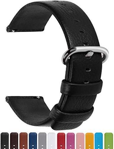 12 Colors for Quick Release Leather Watch Band, Fullmosa Uli Series Genuine Leather Replacement Watch Strap with Stainless Metal Clasp 18mm Black