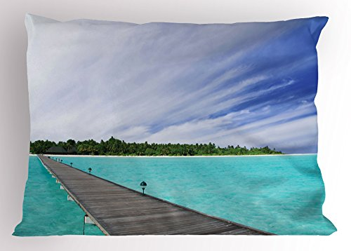 Lunarable Landscape Pillow Sham, View from Deck at Tropical Island with Exotic Hawaii Sky Landscape, Decorative Standard King Size Printed Pillowcase, 36 X 20 Inches, Turquoise Brown Green by Lunarable